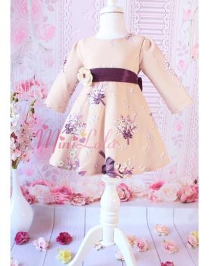 Mor renk çiçek desenli büyük fiyonk detaylı zarif elbise
