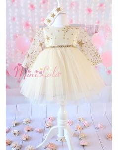 Simli gold renk yıldız desenli tül kol detaylı zarif elbise seti