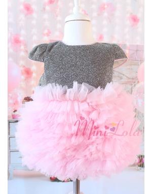 Kabarık tül etekli sim kumaşlı fiyonk detaylı gri-pembe elbise