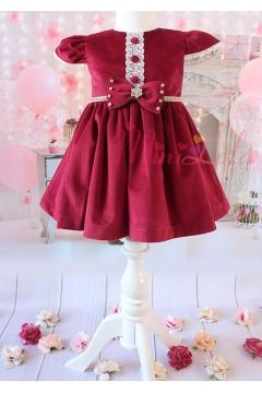 Bordo renk kadife kumaşlı ekru dantel düğme detaylı elbise
