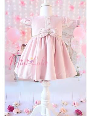 Lila renk kadife kumaşlı ekru dantel düğme detaylı elbise