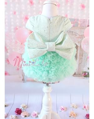 Kabarık tül etekli sim kumaşlı fiyonk detaylı su yeşili elbise