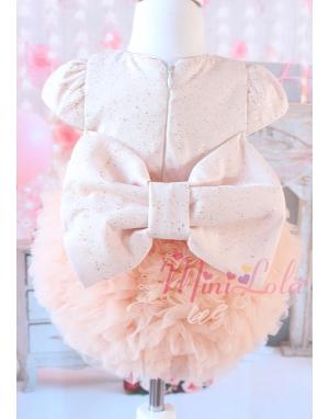 Kabarık tül etekli sim kumaşlı fiyonk detaylı somon elbise
