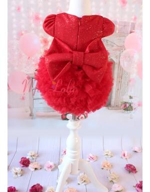 Kabarık tül etekli sim kumaşlı fiyonk detaylı kırmızı elbise