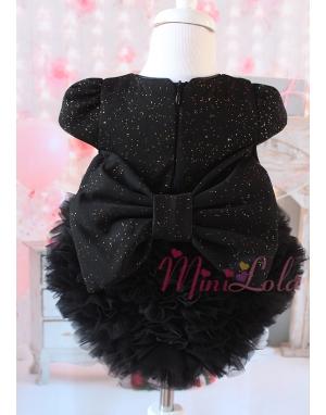 Kabarık tül etekli sim kumaşlı fiyonk detaylı siyah elbise