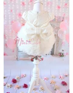 Kabarık tül etekli sim kumaşlı fiyonk detaylı krem elbise