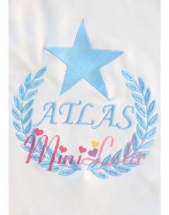 Mavi renk yıldızlı isim işlemeli krem battaniye