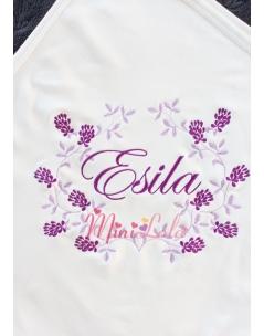 Lila mor renkli sarmaşık çiçek desenli krem battaniye