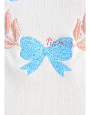 Mat mavi dore renk işlemeli fiyonk detaylı isimli battaniye