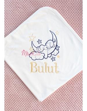 Dore lacivert renk yıldız bebek isim işlemeli krem battaniye