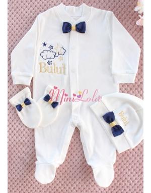 Dore lacivert renk yıldız bebek isim işlemeli krem tulum seti