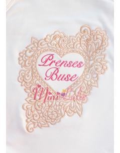 Cappuccino renk kalp çerçeveli pembe isim işlemeli krem battaniye