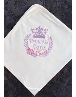 Lila renk taç isim işlemeli krem battaniye