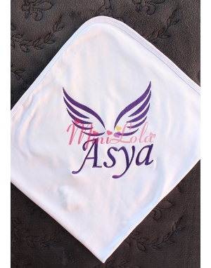 Mor renk melek kanat desen isim işlemeli beyaz battaniye