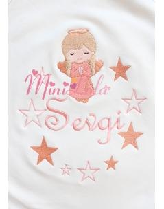 Somon renk melek kız desenli yıldız sim detaylı isimli battaniye