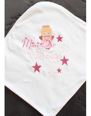 Pembe renk melek kız desenli yıldız sim detaylı isimli battaniye