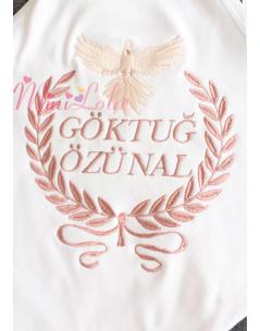 Kızıl kahve renk sarmaşık desen kuş figürlü isimli beyaz battaniye