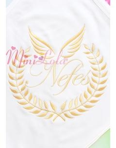 Dore melek kanat isim işlemeli krem battaniye