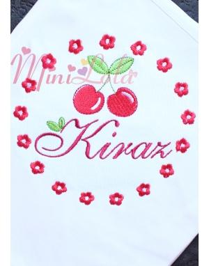 Kırmızı beyaz renk kiraz çiçek desenli isimli battaniye