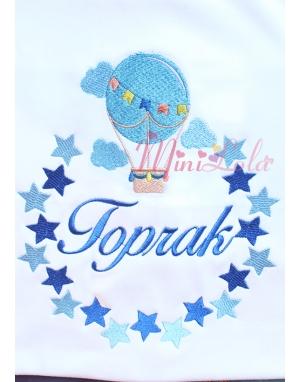 Saks-bebe mavi uçan balon yıldız desenli isimli battaniye