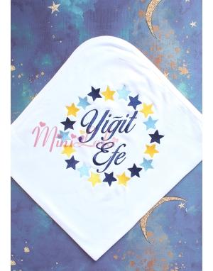 Mavi sarı lacivert yıldız çember desenli isimli battaniye