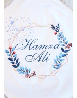 Lacivert mavi renkli yaprak geometrik desenli isimli battaniye