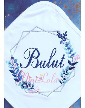 Lacivert mavi renkli yaprak gümüş geometrik desenli isimli battaniye