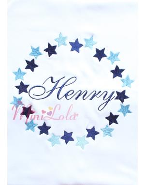 Mavi lacivert yıldız çerçeve desenli isimli battaniye
