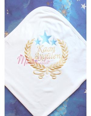 Dore mavi renk yıldız sarmaşık isim işlemeli krem battaniye