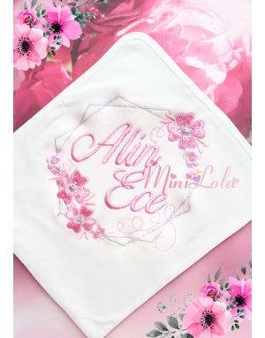Gülkurusu gümüş renk işlemeli çiçek desen isimli battaniye