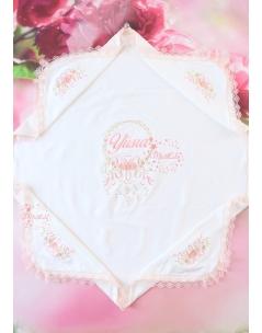 Somon tonları rokoko çiçek işlemeli isimli dantelli battaniye