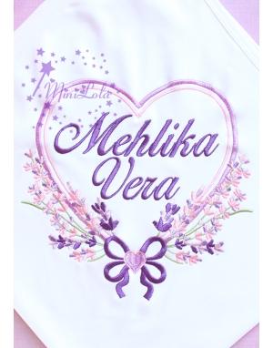 Mor lila renkli kalp lavanta desenli beyaz isimli battaniye