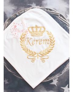 Dore renk taç sarmaşık desenli isimli krem battaniye