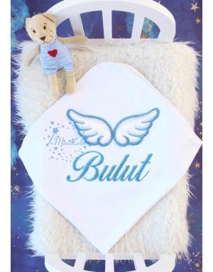 Simli mavi renk kabarık melek kanatlı isimli battaniye