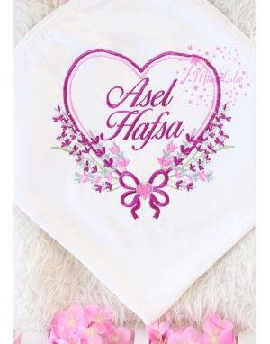 Mürdüm gri renkli kalp lavanta desen isimli battaniye
