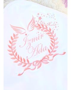 Somon fiyonk sarmaşık desen melek kanatlı isimli battaniye
