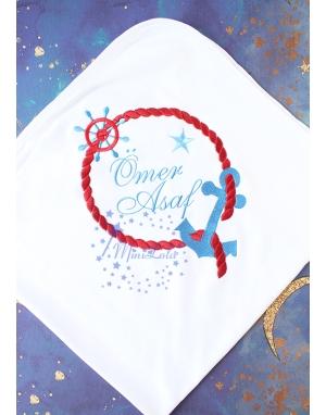 Mavi bordo renk çapa halat desenli isimli battaniye