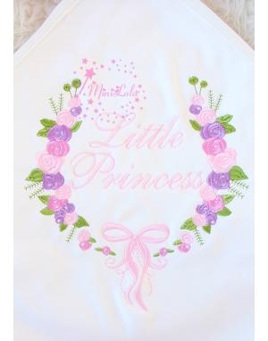 Pembe lila renkli gül fiyonk desenli nakış işlemeli isimli battaniye