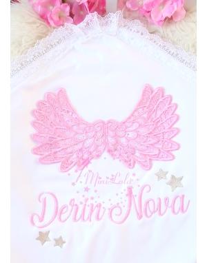 Pembe sim kabarık melek kanat işlemeli dantelli isimli battaniye