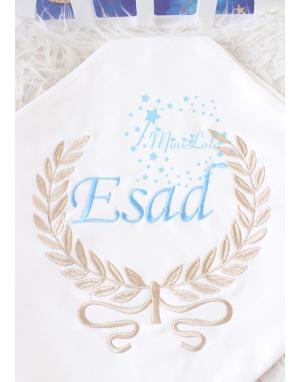 Vizon sarmaşık desen mavi isim işlemeli krem battaniye