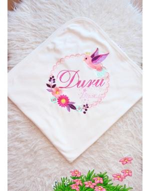 Somon lila çok renkli papatya kuş işlemeli isimli battaniye