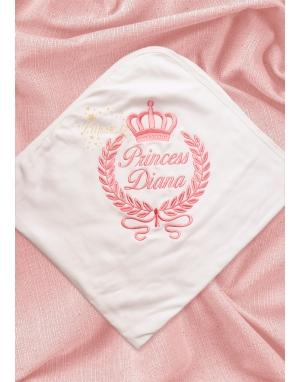 Somon renk taç sarmaşık isim işlemeli battaniye