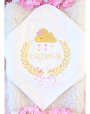 Dore renk bulut desen isim işlemeli renkli battaniye
