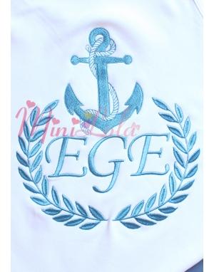 Koyu mavi renk çapa desenli isim işlemeli beyaz battaniye