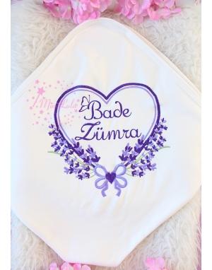 Mor lila renkli kalpli lavanta desen işlemeli isimli battaniye