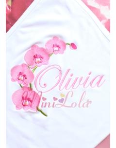 Şeker pembe orkide çiçekli isim işlemeli battaniye