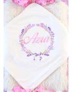 Pembe lila renkli lavanta desen işlemeli isimli battaniye