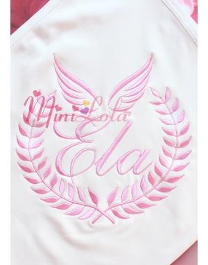 Pembe renk sarmaşık melek kanat desen isimli krem battaniye