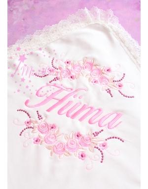 Pembe renk çiçekli sim dantel detaylı isimli battaniye