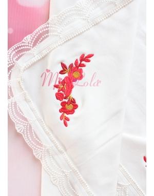 Kırmızı bordo gold kuğu desenli dantel köşe detaylı isimli battaniye